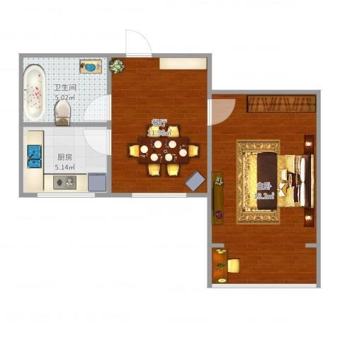 威宁大楼1室1厅1卫1厨50.00㎡户型图