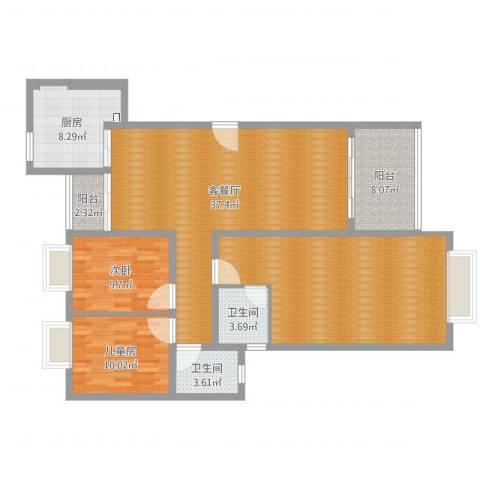 广场花园2室2厅3卫1厨139.00㎡户型图