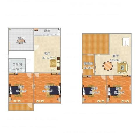 东岳小区4室2厅1卫1厨653.00㎡户型图