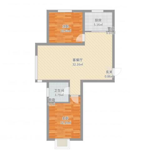 欢乐林栖2室2厅1卫1厨80.00㎡户型图