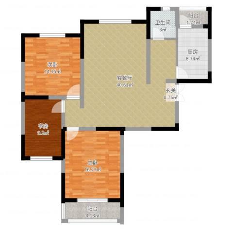 天鹅湖畔3室2厅1卫1厨120.00㎡户型图