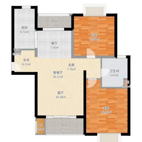 达安春之声花园2室2厅1卫1厨107.00㎡户型图