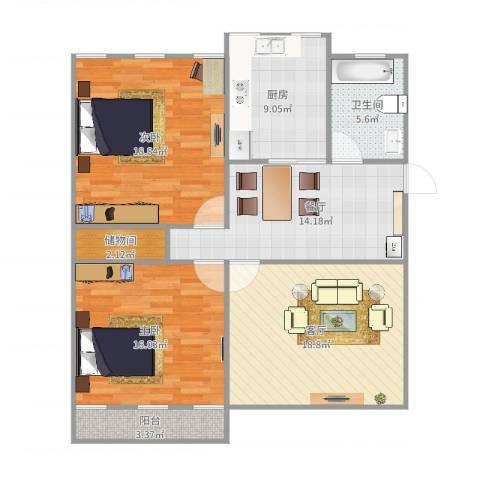 张庄路煤炭局宿舍2室2厅1卫1厨110.00㎡户型图