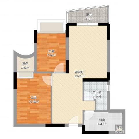颐景华苑2室2厅3卫1厨70.00㎡户型图
