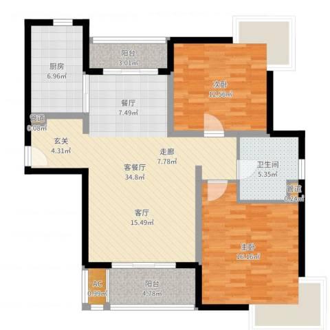 达安春之声花园2室2厅1卫1厨106.00㎡户型图