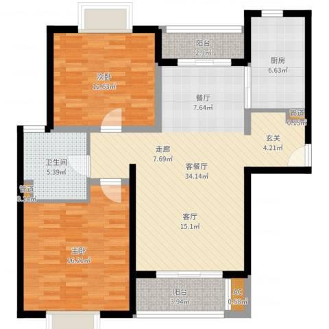 达安春之声花园2室2厅1卫1厨103.00㎡户型图