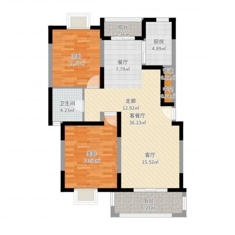 达安春之声花园2室2厅1卫1厨101.00㎡户型图