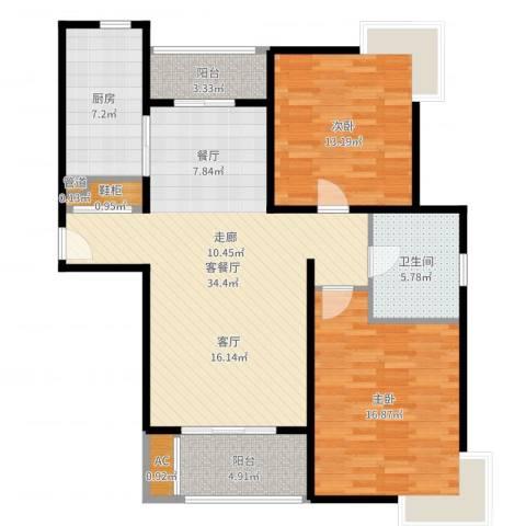 达安春之声花园2室2厅1卫1厨110.00㎡户型图