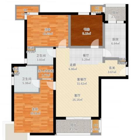 达安春之声花园3室2厅2卫1厨122.00㎡户型图
