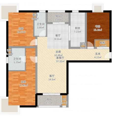 达安春之声花园3室2厅2卫1厨130.00㎡户型图