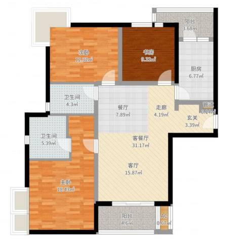 达安春之声花园3室2厅2卫1厨121.00㎡户型图