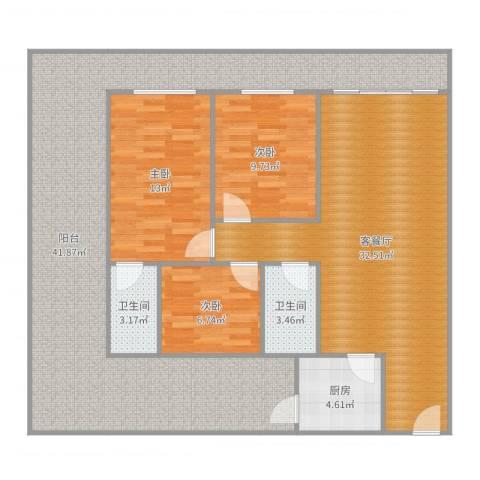 北滘怡乐居2043室2厅2卫1厨115.10㎡户型图