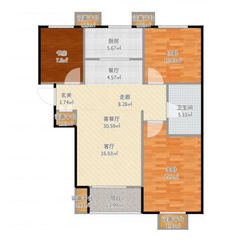 万科城3室2厅1卫1厨104.00㎡户型图
