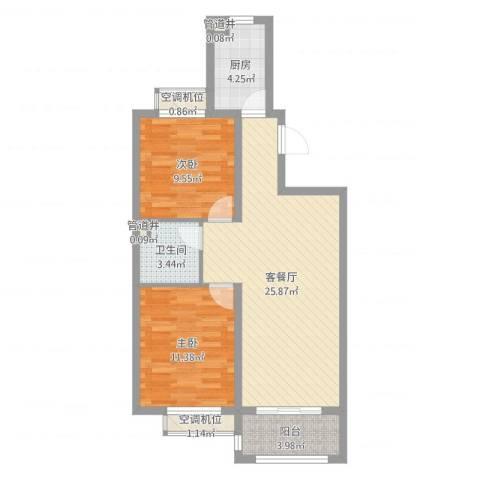 诚安友谊天地2室2厅5卫1厨76.00㎡户型图