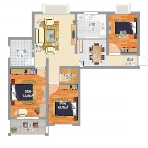 嘉禾颐苑3室2厅1卫1厨106.00㎡户型图