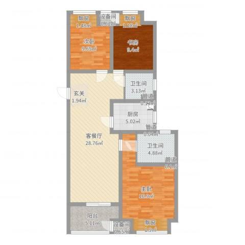 牡丹领秀汇3室2厅2卫1厨105.00㎡户型图