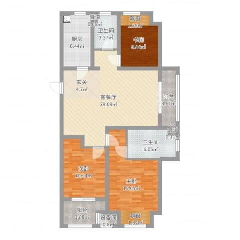 牡丹领秀汇3室2厅2卫1厨110.00㎡户型图