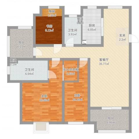 牡丹领秀汇3室2厅2卫1厨129.00㎡户型图