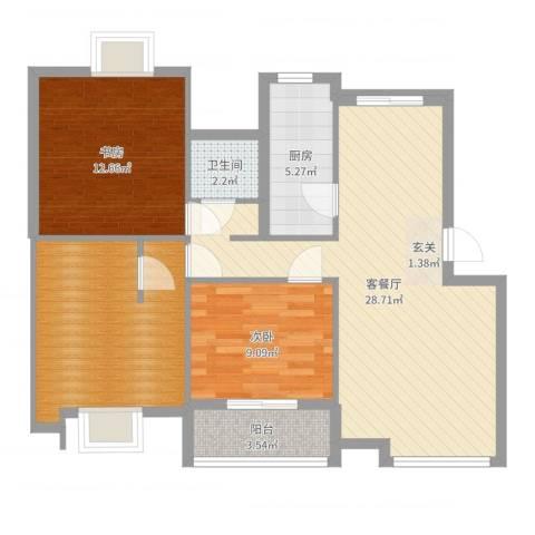罗马花园二期2室2厅1卫1厨94.00㎡户型图