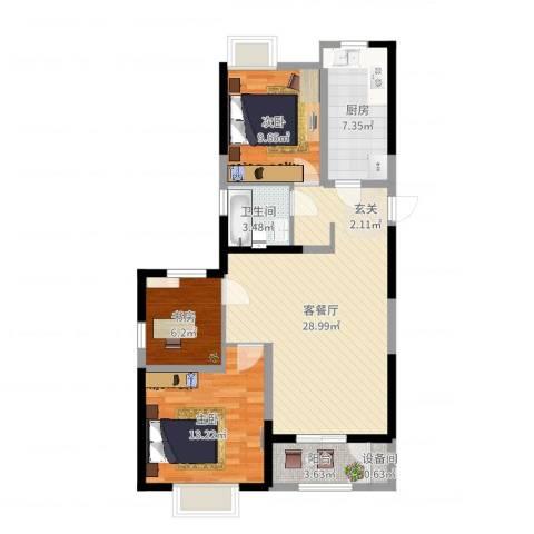 广福花园福临苑3室2厅1卫1厨91.00㎡户型图