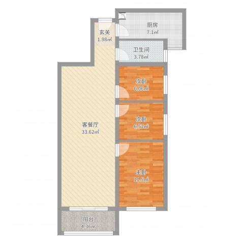 盛华香港城君临花园3室2厅1卫1厨91.00㎡户型图