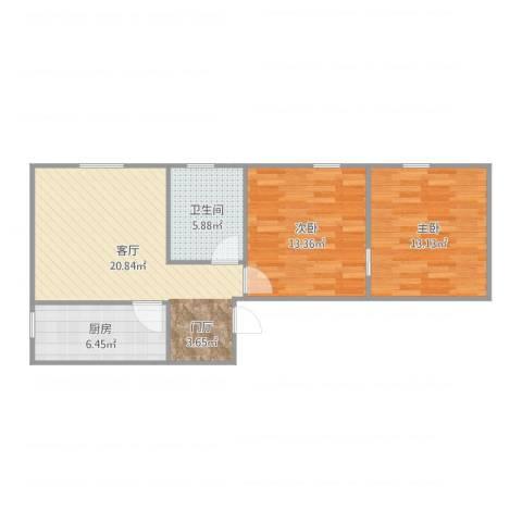 清河毛纺厂小区2室1厅1卫1厨75.00㎡户型图