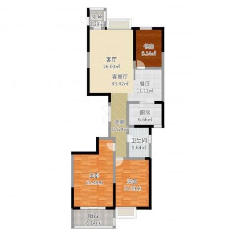 海琴湾3室2厅1卫1厨137.00㎡户型图