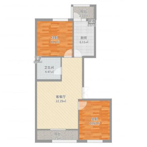 香悦蓝天下2室2厅1卫1厨76.00㎡户型图
