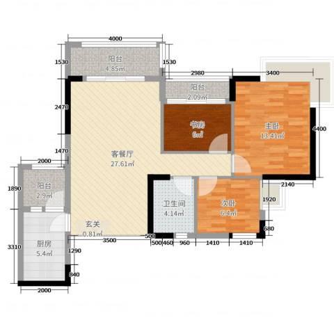 盛天龙湾3室2厅1卫1厨103.00㎡户型图