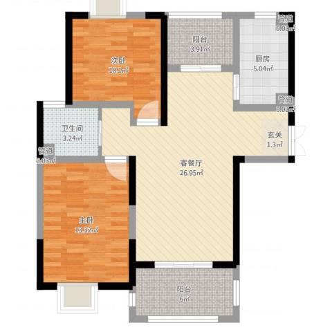 金茂国际2室2厅1卫1厨86.00㎡户型图