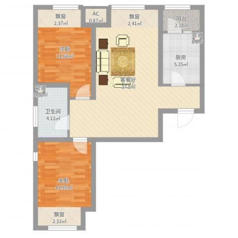 首尔甜城2室2厅1卫1厨81.00㎡户型图