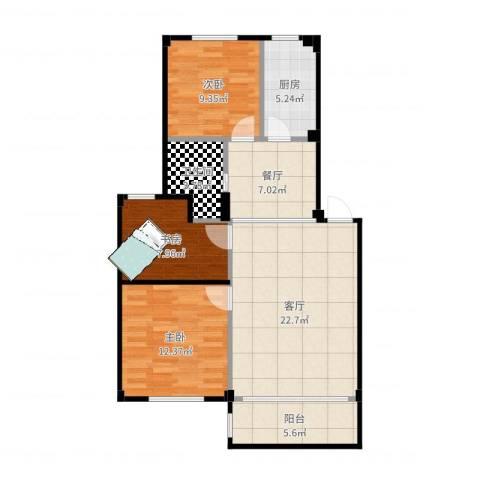 喜盛威尼斯三期3室2厅1卫1厨93.00㎡户型图