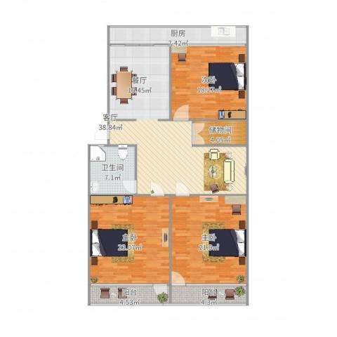 趵突泉小区3室1厅1卫1厨162.00㎡户型图