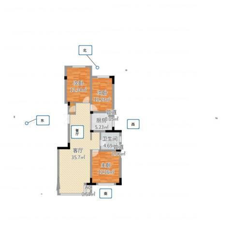 复地哥德堡森林三期墅香洋房3室1厅1卫1厨104.00㎡户型图