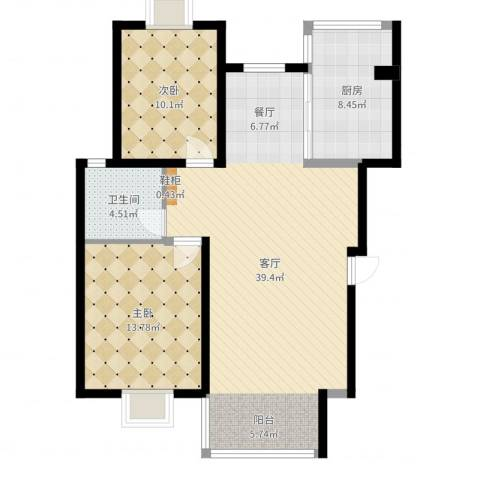 香水湾2室1厅1卫1厨104.00㎡户型图