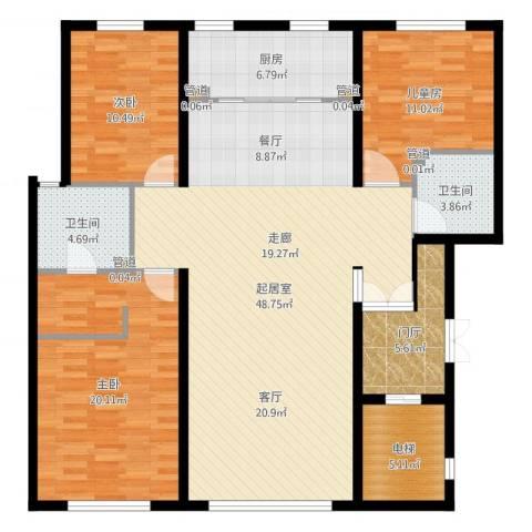 水木兰亭三期3室1厅6卫1厨146.00㎡户型图