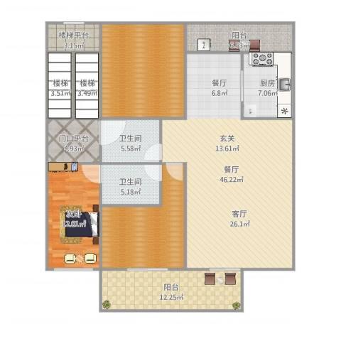中山丽景名筑1室1厅2卫1厨176.00㎡户型图
