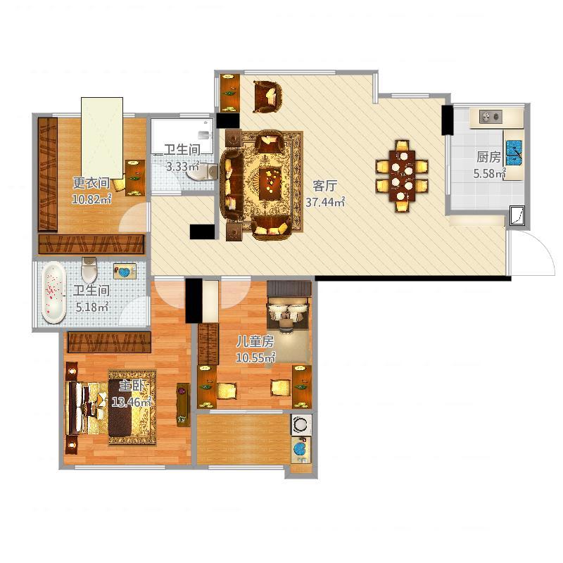 我的天玺设计-三房方案1