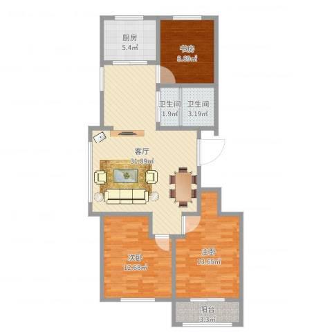 馨安苑3室1厅2卫1厨101.00㎡户型图