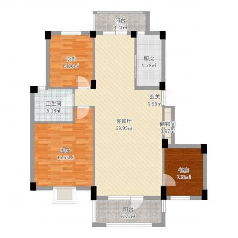 南郡天下3室2厅1卫1厨119.00㎡户型图