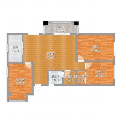 国信上城学府3室2厅2卫1厨117.00㎡户型图