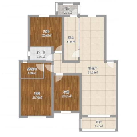 燕归宁馨园3室2厅1卫1厨114.00㎡户型图