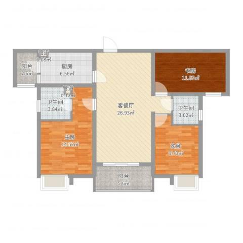 林隐天下3室2厅2卫1厨106.00㎡户型图