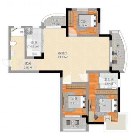名桂坊3室2厅1卫1厨119.00㎡户型图