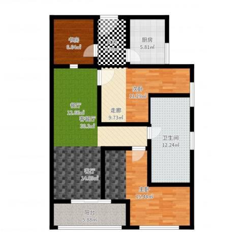 法苑小区3室2厅1卫1厨112.00㎡户型图