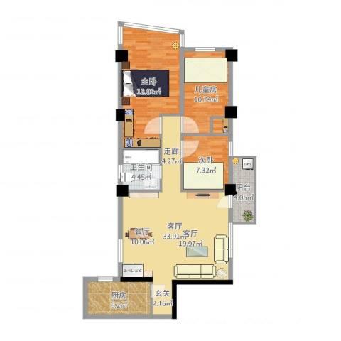 南峰玫瑰园3室1厅1卫1厨106.00㎡户型图