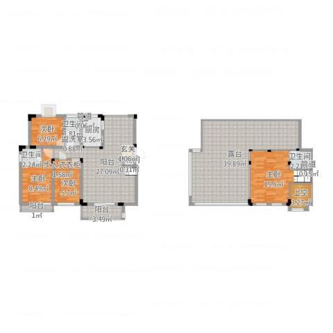 半山家园4室2厅3卫1厨155.00㎡户型图