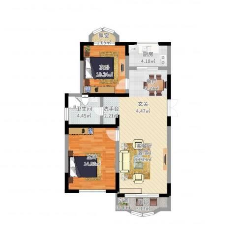 华通和平海岸二期2室2厅1卫1厨86.00㎡户型图