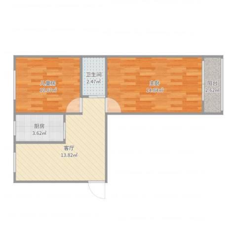 岭南路30号院2室1厅1卫1厨59.00㎡户型图