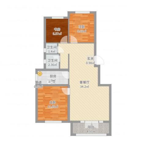 博圣・御府龙湾3室2厅2卫1厨96.00㎡户型图